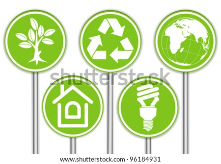 Collect Banner with Environment Icon, Tree, Leaf, Light Bulb and Recycling Symbol, vector illustration - stock vector