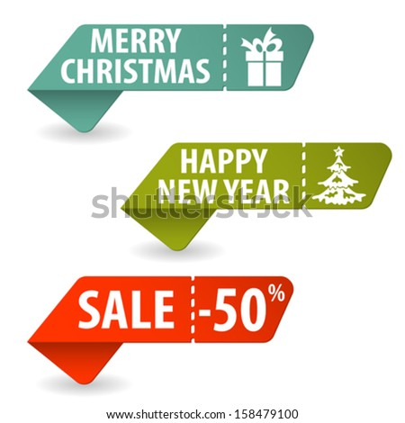Collect Christmas Signs with Tear-off Coupon, vector illustration - stock vector