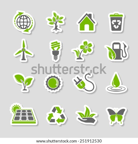 Collect Environment Icons Sticker Set with Tree, Leaf, Light Bulb, Recycling Symbol. Vector in two colours. - stock vector