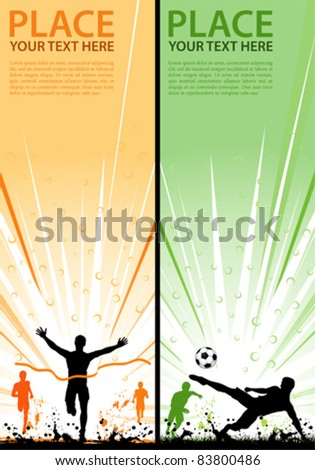 Collect grunge sport flyer with Soccer Player and Winner Man, element for design, vector illustration - stock vector