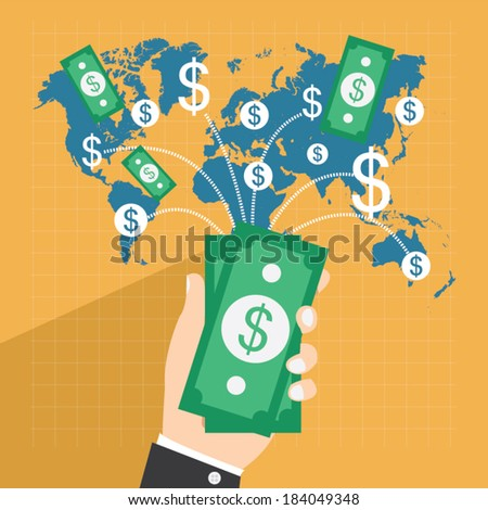 collect money, Flat design vector illustration, business concept - stock vector