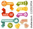 Collect Sale, Shopping and Quality Signs with Tear-off Coupon and Icons, vector illustration - stock vector