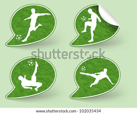 Collect Sticker with Silhouettes of Soccer Players in various Poses with the Ball, vector illustration