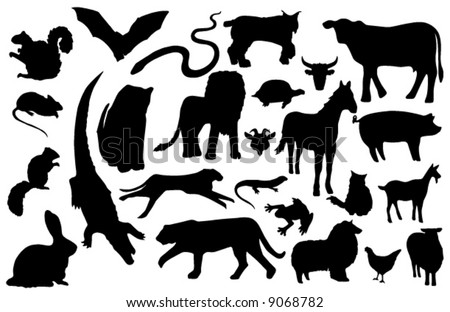 Collected miscellaneous vector animal silhouettes (more detailed versions also available)