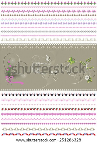 Collected patterned calligraphic border to to women holidays - stock vector