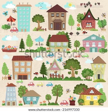 Collection a cute houses and trees for you design - stock vector