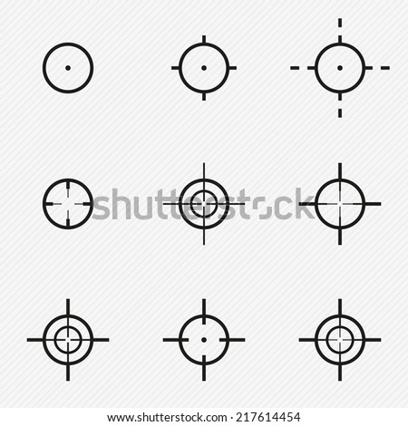 Collection aim target pointer point weapon gun - stock vector
