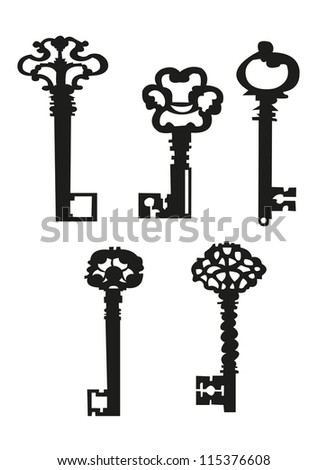 Collection antique and modern keys, vector illustration EPS 10 - stock vector