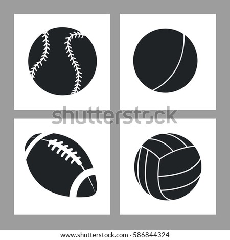 collection balls sport icons black and white