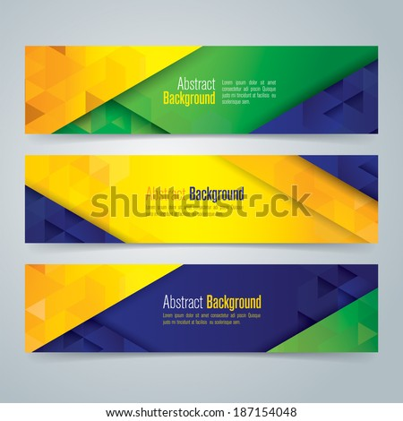 Collection banner design, Brazil flag color background, vector illustration. - stock vector