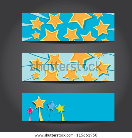 Collection banners stars design, starburst background. vector illustration