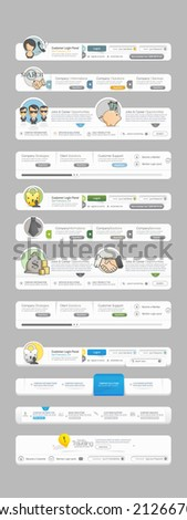 Collection: Big set of different website menu navigation elements for templates with colorful icons. - stock vector
