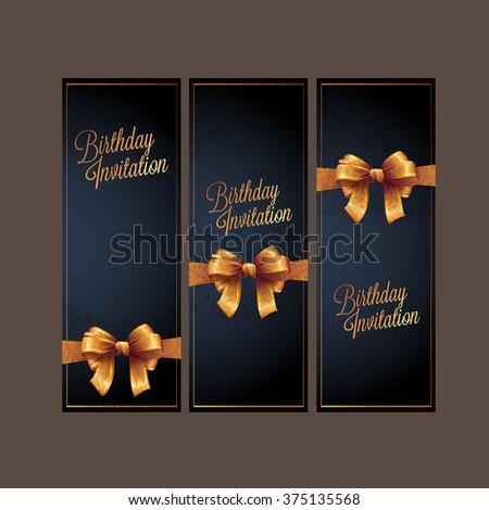 Collection Birthday card design and invitations with ribbons. Vector background. illustration  - stock vector