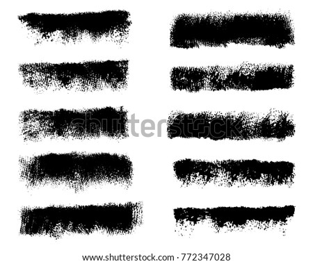 Collection black dirty design element. Grunge brush stroke, paint artistic set. Grunge texture collection.