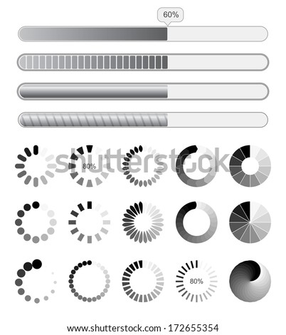 Collection black-white preloaders. Vector illustration. Isolated on white background. Set - stock vector