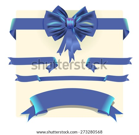 Collection blue ribbons and bow - stock vector