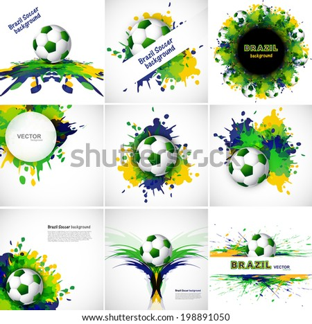 Collection Brazil flag set colors concept splash grunge background  presentation vector design - stock vector