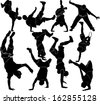 collection breakdance silhouette break dance - stock