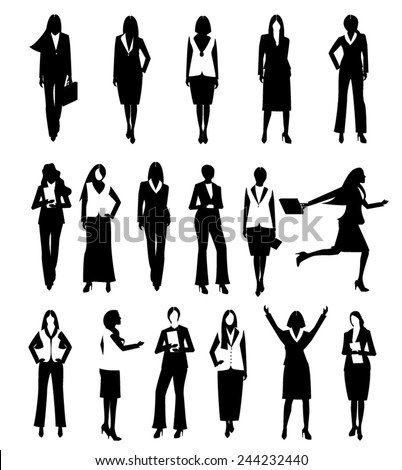Collection Business people woman design vector in different poses