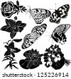 collection butterfly flower - stock photo