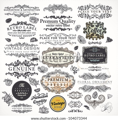 Collection: calligraphic design elements and page decorations, Premium Quality and Satisfaction Guarantee Label set with vintage engraving flowers, leafs and floral frames. Grunge vector texture. - stock vector