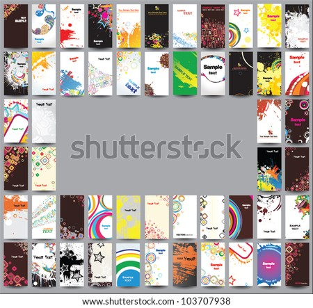 Collection cards on different topics - stock vector
