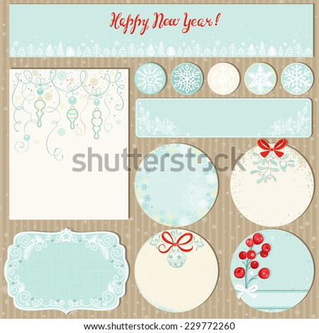 Collection Christmas labels and decorations in vintage style, vector illustration 10 eps. - stock vector
