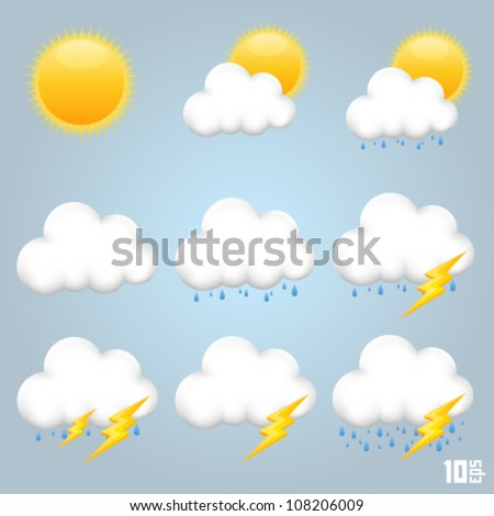 Collection clouds icon, cloud and sun, weather phenomenon, template design element, Vector illustration