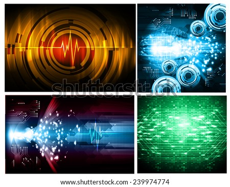 Collection colorful Light Abstract Technology background set for computer graphic website internet and business. text box. Brochure. card. wave. diverse, different, divers, manifold, many, various - stock vector
