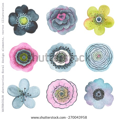 Collection colorful watercolor flowers, abstract in vintage style. - stock vector