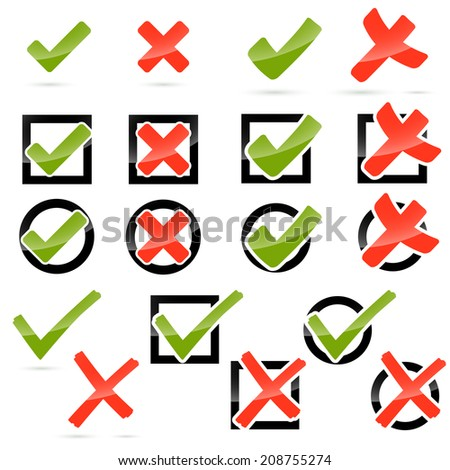 Collection - cross + hook - stock vector