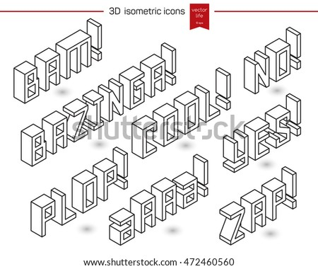 Collection 3D isometric words. Bam! Cool! No! Yes! Zap!Basinger! exclamations.