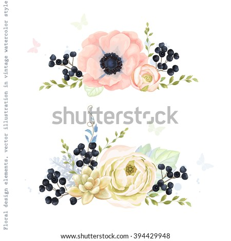 Collection decorative ornaments of flowers, wild Privet Berry, plants and leaves in vintage watercolor style with butterflies. - stock vector