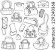 Collection design women's handbags. Hand drawn vector isolated. Set 2. - stock vector