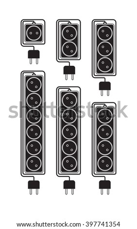 Collection electrical extension cords in a modern flat style. Electric surge protector icon, electric extension cable icon, electrical plug and electrical outlet. Schematic image. Vector illustration - stock vector