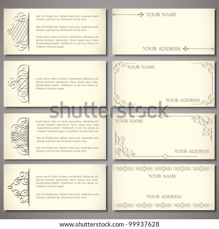 Collection elegant business cards with calligraphic elements - stock vector