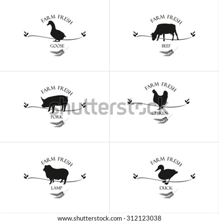 Collection farm of chicken, goose, duck, beef, lamb, pork. Meat labels, logos and badges. Vector icons. - stock vector