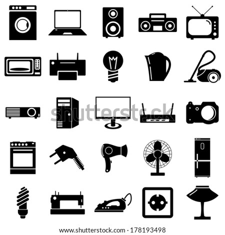Collection flat icons. Electrical devices symbols. Vector illustration. - stock vector