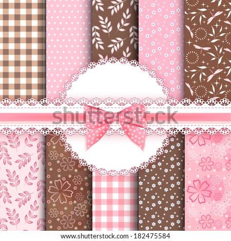 Collection floral pattern for scrapbook. Vector illustration. - stock vector