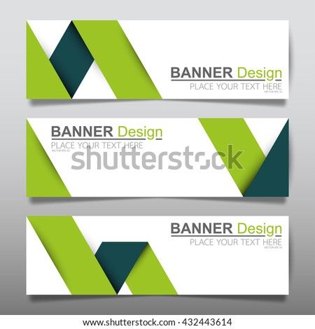 Collection fold ribbon green horizontal business banner set vector templates. clean modern geometric abstract background layout for website design. simple creative cover header. in rectangle size - stock vector