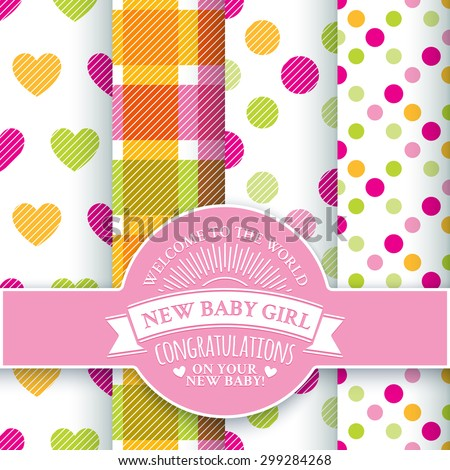 Collection for decoration products for the newborn girl in pink and yellow tones. Set includes 4 colorful seamless patterns and round congratulatory logo with tape and sunburst - stock vector