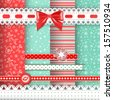 Collection for scrapbook. Red-green seamless and borders. Vector illustration. - stock photo