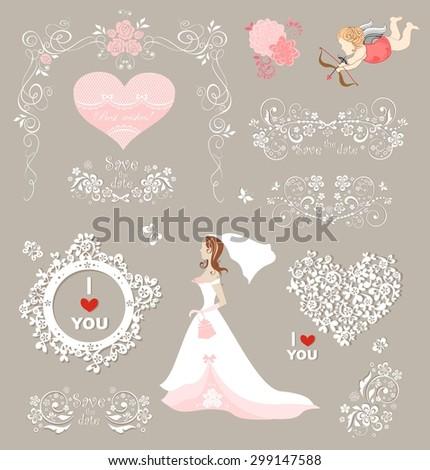 Collection for wedding design - stock vector