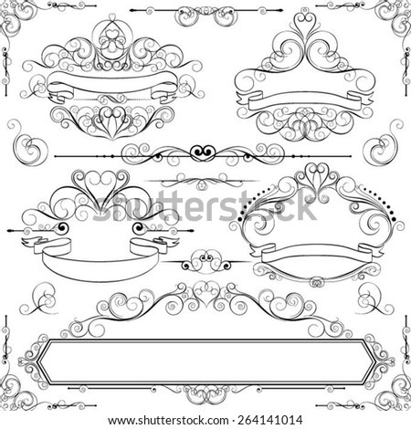 Collection frame and design elements - stock vector