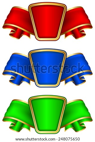 Collection frame with ribbon in 3 color on white - stock vector