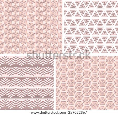 Collection geometric seamless  pattern. Vector illustration.