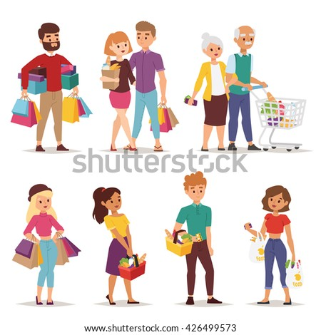 Collection going shopping people with shopping bags. Shopping people woman and man with bags. Shopping people collection. Flat style people in shopping mall supermarket grocery shop figure vector.