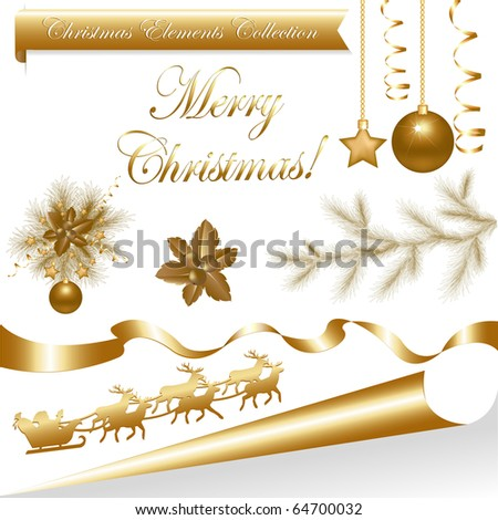 Collection Gold Christmas Elements, Isolated On White Background, Vector Illustration - stock vector