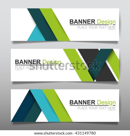 Collection green and blue horizontal business banner set templates vector. clean modern geometric abstract background layout for website design. simple creative cover header. in rectangle size. - stock vector