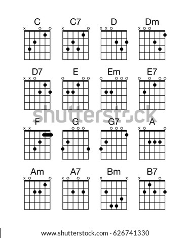 Collection Group Set Vector Guitar Chords Stockvector 626741330